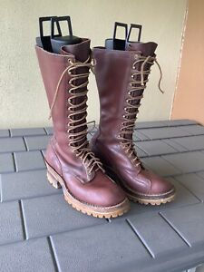 "white's lineman / fire boots, 9 1/2 D, brown, Vibram soles, 14"" Tall"