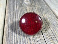 VINTAGE ANTIQUE BIKE BICYCLE GLASS REFLECTOR 1.5 INCH RED REFLECTOR USED