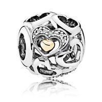Original PANDORA Charm 792108CZ Element Romantische Herzen