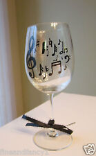 Hand Painted Wine Glass  Music Notes 12 oz. Glass