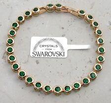 Semi Bracciale tennis pl oro 24k,cristalli smeraldo,Uomo Donna,braccialetto