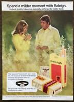 1972 Raleigh Cigarettes Print Ad Young Couple in a Field Timex Watch Promo
