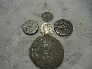 Four Unidentified Ancient Coins with One U. S. Silver Dime (D)