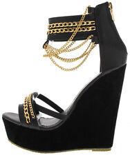 Open Toe Dangling Gold Chain Platform Wedge Gladiator High Heel Sandal Size W17