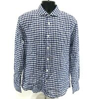 Madeleine Finn Sporting Whites LINEN Shirt Mens L Blue Gingham LS Button Front