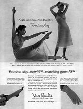 Success Slip Van Raalte SHADOWPLAY GOWN Diane Glove LINGERIE 1955 Magazine Ad