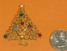 VINTAGE J.J. BROOCH/PIN~GOLD-TONE CHRISTMAS TREE W/COLORFUL RHINESTONES