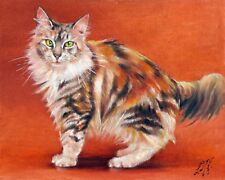 Original Oil Portrait Painting Turkish Angora Artist Signed Artwork Cat Kitten