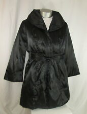Style & Co Coat Size Large Puffer Womens Fit And Flare Black Satin Belted