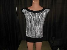 Trixxi Women's Sleeveless Black & White Blouse Top Size Medium