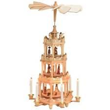 Weihnachtspyramide 4-stöckig Krippen-Szenen für Kerzen Holz Tischdeko 19x49 cm