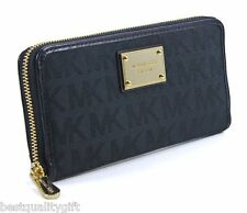 NEW MICHAEL KORS ITEM BLACK+GOLD LUREX MK JACQUARD ZIP AROUND,CONTINENTAL,WALLET