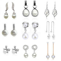 Luxury Vintage Style Bridal Prom Wedding White Pearl stud Drop Dangle Earrings
