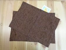 "TAPESTRY PLACEMATS Set of 2 Solid Dark Brown Rectangle 20"" x 13"""