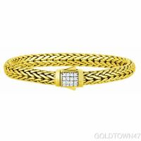 18kt Yellow Gold Domed Wheat Bracelet White Diamond Studded Domed Box Clasp