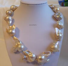 Genuine silver 20-24mm baroque freshwater pearls silver ball necklace PINK L49cm