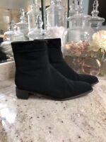 EUC STUART WEITZMAN Black Gore-Tex Suede Trim Zip Ankle Boots Shoes 6.5 6 1/2 M