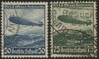 Stamp Germany Mi 606-7 Sc C57-8 1936 Reich Airship Hindenburg Zeppelin Used
