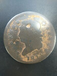 1814 1C CLASSIC HEAD LARGE CENT Penny CROSSLET 4 Good G Details Minor Dents