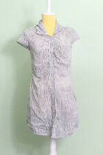 Mossimo Dress Sz XS Cap Sleeve Diner A-Line White Black Striped Button Up Short