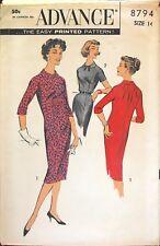 1950's VTG Advance Misses'  Dress Pattern 8794 Size 14