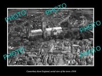 OLD 8x6 HISTORIC PHOTO OF CANTERBURY KENT ENGLAND AERIAL VIEW OF TOWN c1930 2