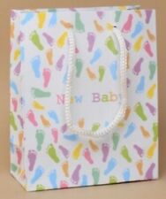 NEW 12 New Baby Pastel coloured footprint gift bags 15x12x6cm shower luxury