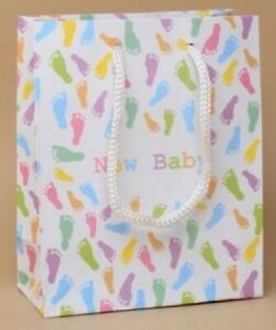 NEW New Baby Pastel coloured footprint gift bags 15x12x6cm shower luxury