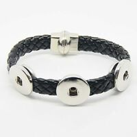 Snap Button Bracelet 18mm Jewelry Leather Charms Fit Multi Metal Styles 12 Snaps
