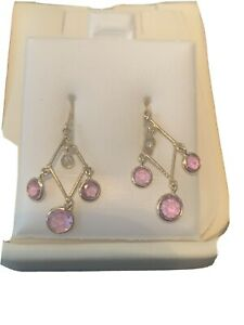 18K Gold Diamond & Sapphires Dangle Earrings With Replacement Appraisal