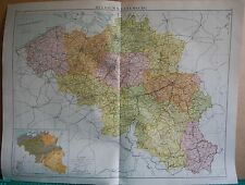 1919 LARGE MAP- EUROPE-BELGIUM AND LUXEMBOURG
