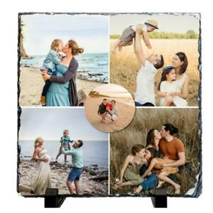Personalised 5 Photos Collage Square Shape 20x20cm Natural Rock Slate