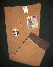 NWT Men's Wrangler Loose Fit Khaki Tan Carpenter Jeans Fleece Lined  34X32*