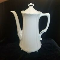 Tirschenreuth Baronesse Embrossed Scalloped White COFFEE POT Germany