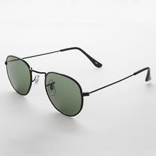Rare Round Squared Edge Vintage Sunglasses Glass Lens Black -BRODY