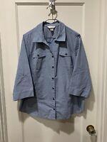 CJ Banks 1X Blue White Black Plaid Button Down Shirt 6025