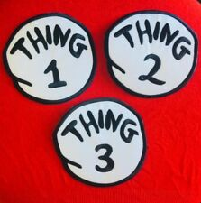 IRON ON DIY PATCH 5 INCH. CHOICE OF: THING 1, 2 OR 3. COSTUME DRESS UP BOOK WEEK