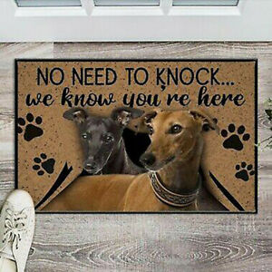 Greyhound No Knock No Need To Knock Easy Clean Welcome DoorMat Felt And Rubber F