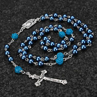 US Catholic Blue Virgin Pearl Beads Rosary Necklace Our Rose Lourdes Medal Cross