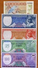 SET Suriname, 2.5;5;10;25;100 Gulden 1963-1985, P-119-120-121-127-128 UNC