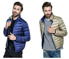 Mens Winter Warm Duck Down Jacket Double Sided Thin Ultra Light Long Sleeve Coat
