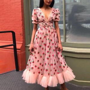 Elegant Princess Strawberry Dress V Neck Short Puff Sleeve Party Dresses Women