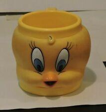 1992 Vintage Warner Bros Looney Tunes Tweety Bird Plastic Character Mug Cup