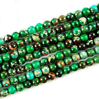 1 Strand 6mm Charming Green Sea Sediment Jasper Round Loose Bead 15.5 inch H01
