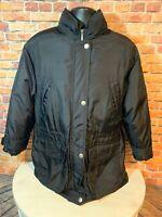 Vintage Eddie Bauer Goose Down Winter JACKET Full Zip Coat Womens Medium Black