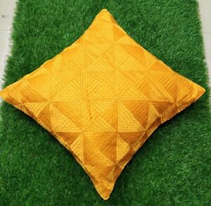 """Set of 2 Ethnic Yellow Cushion Covers Stitched Phulkari Embroidered 16"""" by 16"""""""