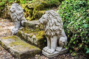 Pair of Sitting Lions Heavy Stone Cast Garden Ornament Statues 70KGS