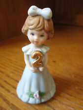 "Enesco Growing Up Birthday Girls Age 2 Brown Hair Porcelain 3"" Tall Figurine"