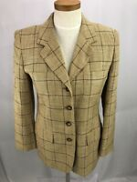 Jones New York Women's Beige Plaid Silk Linen Blend Blazer Jacket 6P