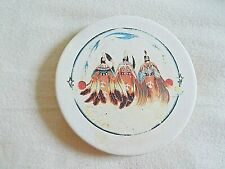 """New listing Vin Native American Theme Ceramic Coaster with cork backing 4 1/8"""" dia 5/8"""" deep"""